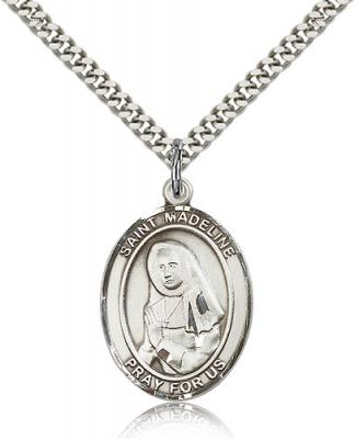 "Sterling Silver St. Madeline Sophie Barat Pendant, Stainless Silver Heavy Curb Chain, Large Size Catholic Medal, 1"" x 3/4"""
