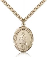 "Gold Filled St. Bartholomew the Apostle Pendant, Stainless Gold Heavy Curb Chain, Large Size Catholic Medal, 1"" x 3/4"""
