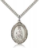 "Sterling Silver St. Bartholomew the Apostle Pendan, Stainless Silver Heavy Curb Chain, Large Size Catholic Medal, 1"" x 3/4"""
