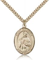 "Gold Filled St. Placidus Pendant, Stainless Gold Heavy Curb Chain, Large Size Catholic Medal, 1"" x 3/4"""