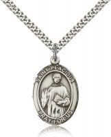 "Sterling Silver St. Placidus Pendant, Stainless Silver Heavy Curb Chain, Large Size Catholic Medal, 1"" x 3/4"""