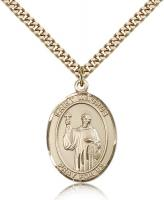 "Gold Filled St. Maurus Pendant, Stainless Gold Heavy Curb Chain, Large Size Catholic Medal, 1"" x 3/4"""