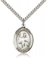 "Sterling Silver St. Maurus Pendant, Stainless Silver Heavy Curb Chain, Large Size Catholic Medal, 1"" x 3/4"""