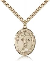 "Gold Filled Our Lady of All Nations Pendant, Stainless Gold Heavy Curb Chain, Large Size Catholic Medal, 1"" x 3/4"""