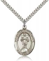 "Sterling Silver Our Lady of All Nations Pendant, Stainless Silver Heavy Curb Chain, Large Size Catholic Medal, 1"" x 3/4"""