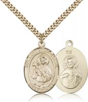 "Gold Filled Our Lady of Mount Carmel Pendant, Stainless Gold Heavy Curb Chain, Large Size Catholic Medal, 1"" x 3/4"""