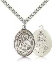 "Sterling Silver Our Lady of Mount Carmel Pendant, Stainless Silver Heavy Curb Chain, Large Size Catholic Medal, 1"" x 3/4"""
