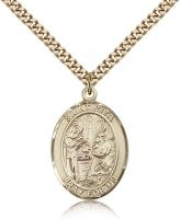 "Gold Filled St. Zita Pendant, Stainless Gold Heavy Curb Chain, Large Size Catholic Medal, 1"" x 3/4"""