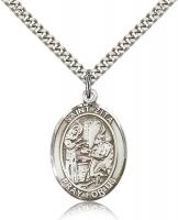 "Sterling Silver St. Zita Pendant, Stainless Silver Heavy Curb Chain, Large Size Catholic Medal, 1"" x 3/4"""