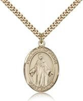 "Gold Filled Our Lady of Peace Pendant, Stainless Gold Heavy Curb Chain, Large Size Catholic Medal, 1"" x 3/4"""