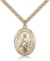 "Gold Filled Our Lady of Knock Pendant, Stainless Gold Heavy Curb Chain, Large Size Catholic Medal, 1"" x 3/4"""