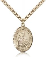 "Gold Filled Our Lady of the Railroad Pendant, Stainless Gold Heavy Curb Chain, Large Size Catholic Medal, 1"" x 3/4"""