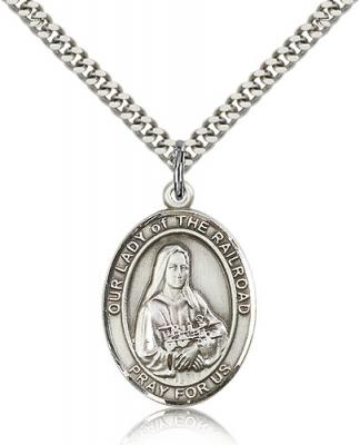 "Sterling Silver Our Lady of the Railroad Pendant, Stainless Silver Heavy Curb Chain, Large Size Catholic Medal, 1"" x 3/4"""