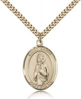 "Gold Filled St. Alice Pendant, Stainless Gold Heavy Curb Chain, Large Size Catholic Medal, 1"" x 3/4"""