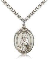 "Sterling Silver St. Alice Pendant, Stainless Silver Heavy Curb Chain, Large Size Catholic Medal, 1"" x 3/4"""