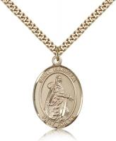 "Gold Filled St. Isabella of Portugal Pendant, Stainless Gold Heavy Curb Chain, Large Size Catholic Medal, 1"" x 3/4"""