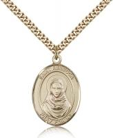 "Gold Filled St. Rebecca Pendant, Stainless Gold Heavy Curb Chain, Large Size Catholic Medal, 1"" x 3/4"""