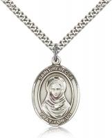 "Sterling Silver St. Rebecca Pendant, Stainless Silver Heavy Curb Chain, Large Size Catholic Medal, 1"" x 3/4"""