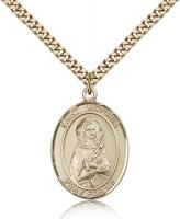 "Gold Filled St. Victoria Pendant, Stainless Gold Heavy Curb Chain, Large Size Catholic Medal, 1"" x 3/4"""