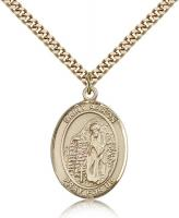 "Gold Filled St. Aaron Pendant, Stainless Gold Heavy Curb Chain, Large Size Catholic Medal, 1"" x 3/4"""