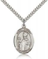 "Sterling Silver St. Austin Pendant, Stainless Silver Heavy Curb Chain, Large Size Catholic Medal, 1"" x 3/4"""