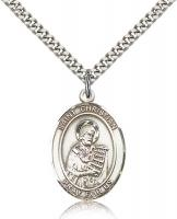 "Sterling Silver St. Christian Demosthenes Pendant, Stainless Silver Heavy Curb Chain, Large Size Catholic Medal, 1"" x 3/4"""
