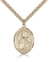 "Gold Filled St. Isaiah Pendant, Stainless Gold Heavy Curb Chain, Large Size Catholic Medal, 1"" x 3/4"""