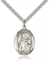 "Sterling Silver St. Isaiah Pendant, Stainless Silver Heavy Curb Chain, Large Size Catholic Medal, 1"" x 3/4"""