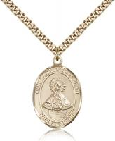 "Gold Filled Our Lady of San Juan Pendant, Stainless Gold Heavy Curb Chain, Large Size Catholic Medal, 1"" x 3/4"""