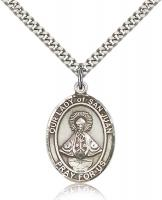 "Sterling Silver Our Lady of San Juan Pendant, Stainless Silver Heavy Curb Chain, Large Size Catholic Medal, 1"" x 3/4"""
