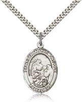 "Sterling Silver St. Bernard of Montjoux Pendant, Stainless Silver Heavy Curb Chain, Large Size Catholic Medal, 1"" x 3/4"""
