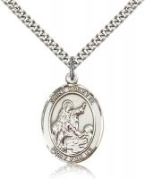 "Sterling Silver St. Colette Pendant, Stainless Silver Heavy Curb Chain, Large Size Catholic Medal, 1"" x 3/4"""