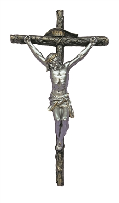 Crucifix Cold Cast Bronze Cross Pewter Corpus 16inch