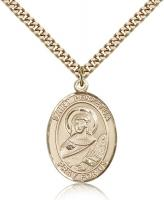 "Gold Filled St. Perpetua Pendant, Stainless Gold Heavy Curb Chain, Large Size Catholic Medal, 1"" x 3/4"""