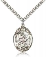 "Sterling Silver St. Perpetua Pendant, Stainless Silver Heavy Curb Chain, Large Size Catholic Medal, 1"" x 3/4"""