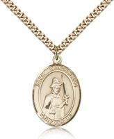 "Gold Filled St. Wenceslaus Pendant, Stainless Gold Heavy Curb Chain, Large Size Catholic Medal, 1"" x 3/4"""