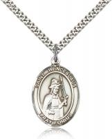 "Sterling Silver St. Wenceslaus Pendant, Stainless Silver Heavy Curb Chain, Large Size Catholic Medal, 1"" x 3/4"""