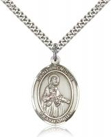 "Sterling Silver St. Remigius of Reims Pendant, Stainless Silver Heavy Curb Chain, Large Size Catholic Medal, 1"" x 3/4"""