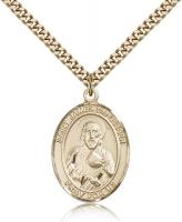 "Gold Filled St. James the Lesser Pendant, Stainless Gold Heavy Curb Chain, Large Size Catholic Medal, 1"" x 3/4"""