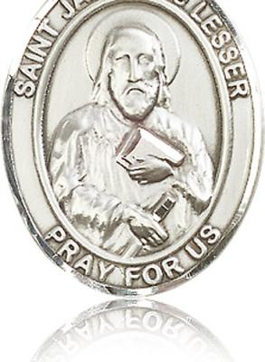 "Sterling Silver St. James the Lesser Pendant, Stainless Silver Heavy Curb Chain, Large Size Catholic Medal, 1"" x 3/4"""