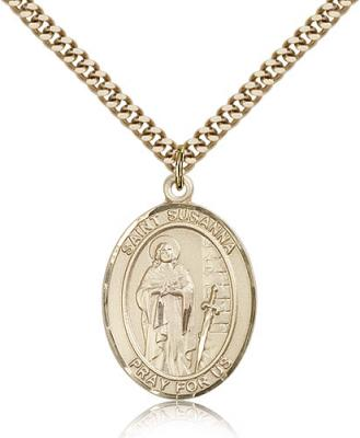 "Gold Filled St. Susanna Pendant, Stainless Gold Heavy Curb Chain, Large Size Catholic Medal, 1"" x 3/4"""