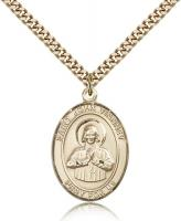 "Gold Filled St. John Vianney Pendant, Stainless Gold Heavy Curb Chain, Large Size Catholic Medal, 1"" x 3/4"""