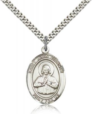 "Sterling Silver St. John Vianney Pendant, Stainless Silver Heavy Curb Chain, Large Size Catholic Medal, 1"" x 3/4"""