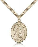"Gold Filled Blessed Karolina Kozkowna Pendant, Stainless Gold Heavy Curb Chain, Large Size Catholic Medal, 1"" x 3/4"""