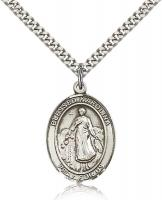 "Sterling Silver Blessed Karolina Kozkowna Pendant, Stainless Silver Heavy Curb Chain, Large Size Catholic Medal, 1"" x 3/4"""