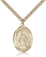 "Gold Filled St. Angela Merici Pendant, Stainless Gold Heavy Curb Chain, Large Size Catholic Medal, 1"" x 3/4"""