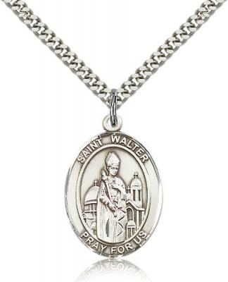 "Sterling Silver St. Walter of Pontnoise Pendant, Stainless Silver Heavy Curb Chain, Large Size Catholic Medal, 1"" x 3/4"""