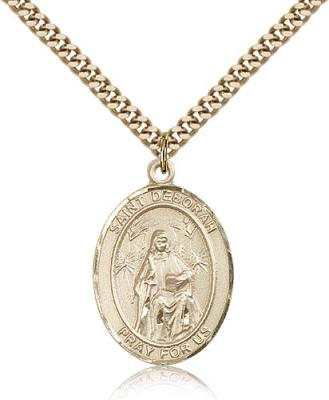"Gold Filled St. Deborah Pendant, Stainless Gold Heavy Curb Chain, Large Size Catholic Medal, 1"" x 3/4"""