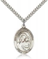 "Sterling Silver Our Lady of Good Counsel Pendant, Stainless Silver Heavy Curb Chain, Large Size Catholic Medal, 1"" x 3/4"""