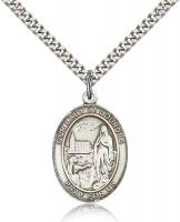 "Sterling Silver Our Lady of Lourdes Pendant, Stainless Silver Heavy Curb Chain, Large Size Catholic Medal, 1"" x 3/4"""